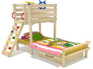 massivholz kinderbett mit stauraum spielbett aus holz neu. Black Bedroom Furniture Sets. Home Design Ideas