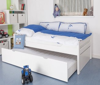 ausziehbares kinderbett 90x200 kinderbett wei neu. Black Bedroom Furniture Sets. Home Design Ideas