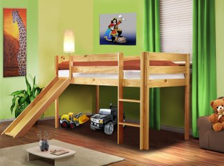 massivholz kinderbett mit rutsche kinderhochbett neu. Black Bedroom Furniture Sets. Home Design Ideas